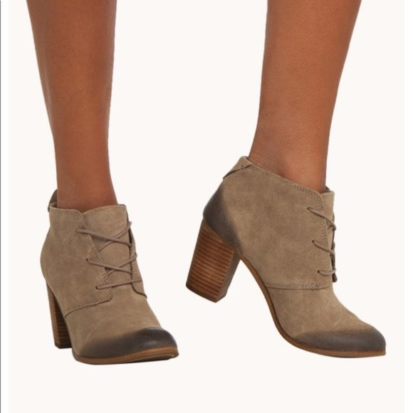 Toms Lunata Laceup Burnished Suede